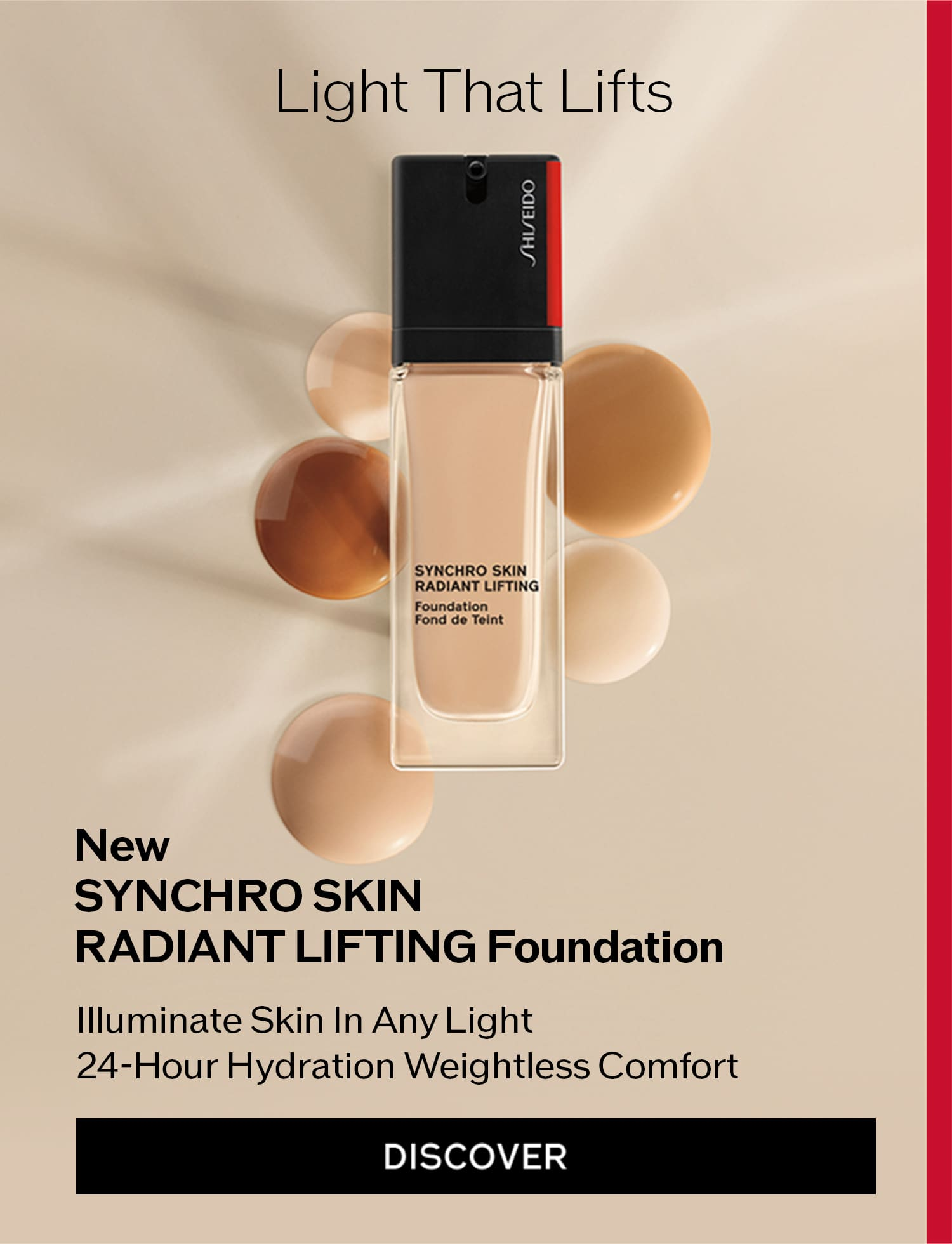 Light That Lifts New SYNCHRO SKINRADIANT LIFTING Foundation Illuminate Skin In Any Light 24-Hour Hydration Weightless Comfort